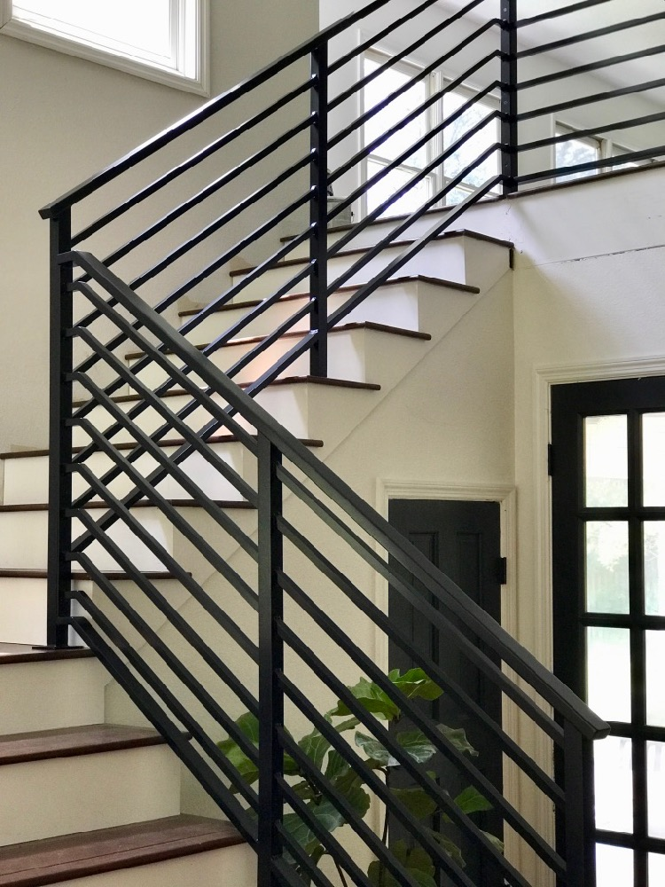 Our Finished Staircase with Horizontal Stair Railing ...