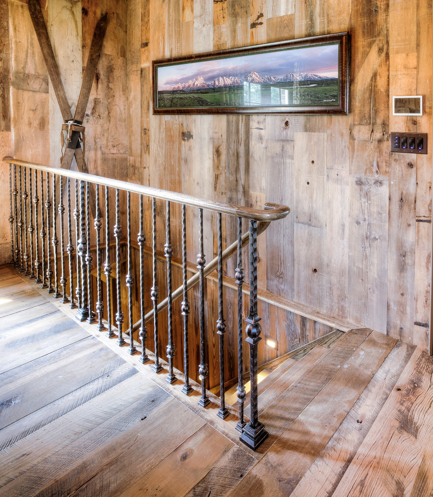 Iron Stair Railing in Rustic Home - Rustic - Staircase ...