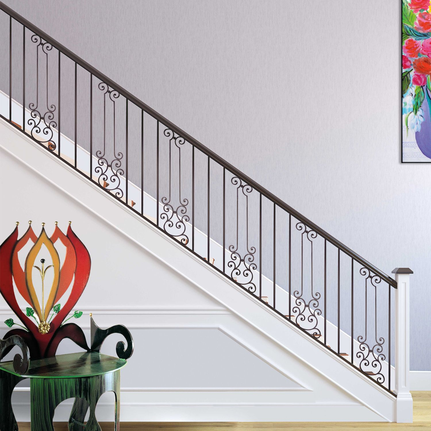 Our #WroughtIron Gonzato Design #panels give #stairs and # ...