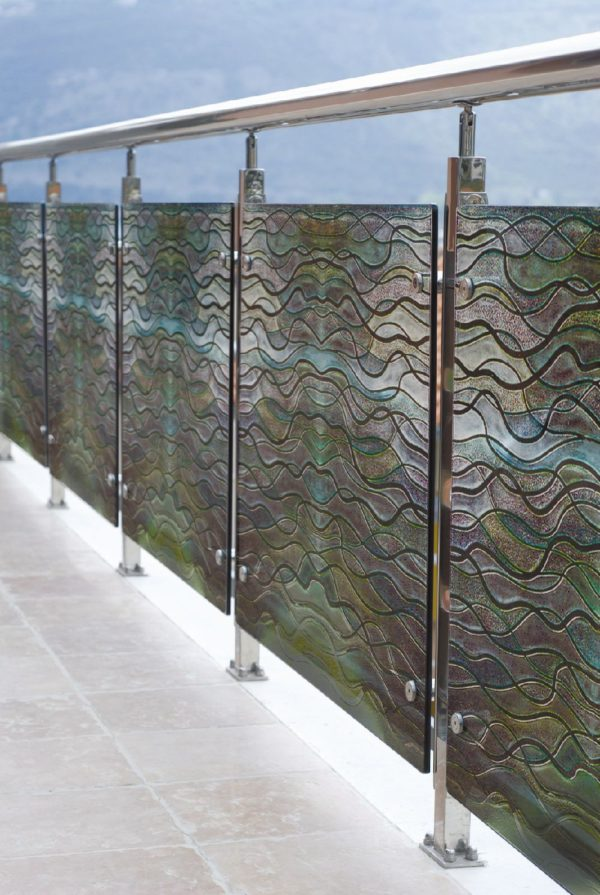 Decorative Etched Glass Exterior Railing PGB126 | Palace ...